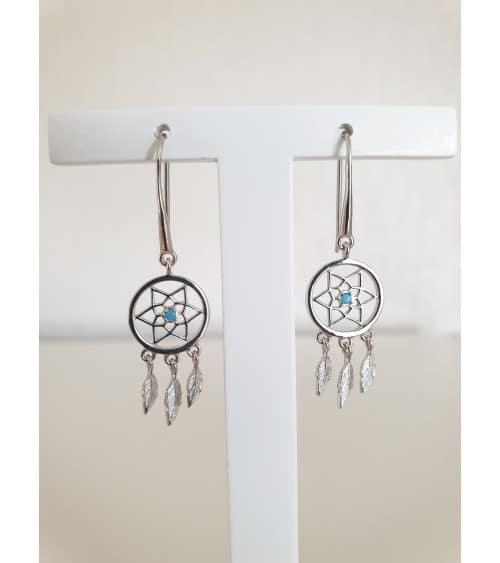 """Boucles d'oreilles """"attrape rêve"""" en argent 925/1000 rhodié et pierre de synthèse bleue turquoise, à crochets"""