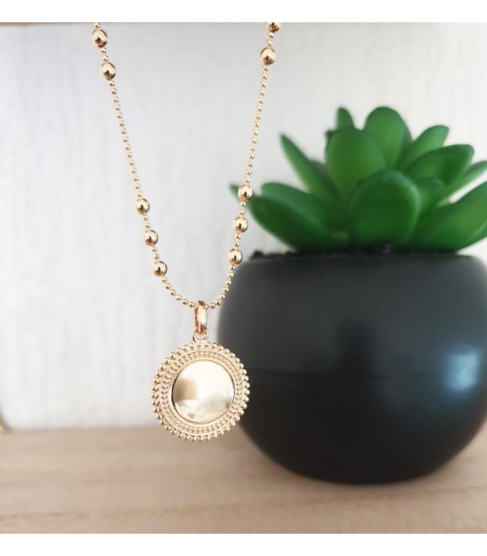 """Pendentif """"médaille"""" seul en plaqué or (voir chaîne vendue séparément)"""