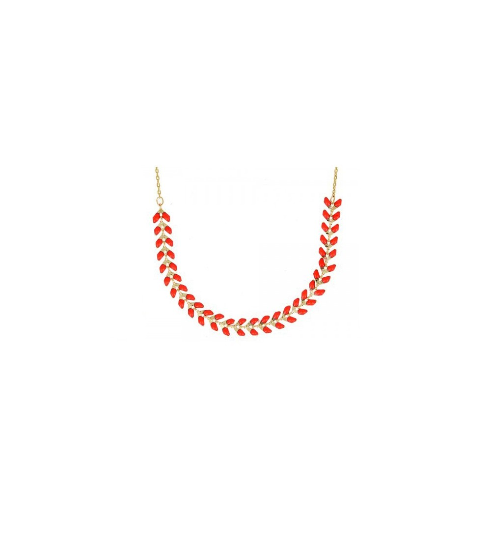 """Collier """"épi"""" en plaqué or et émail orange, en longueur 45 cm réglable jusqu'à 40 cm"""