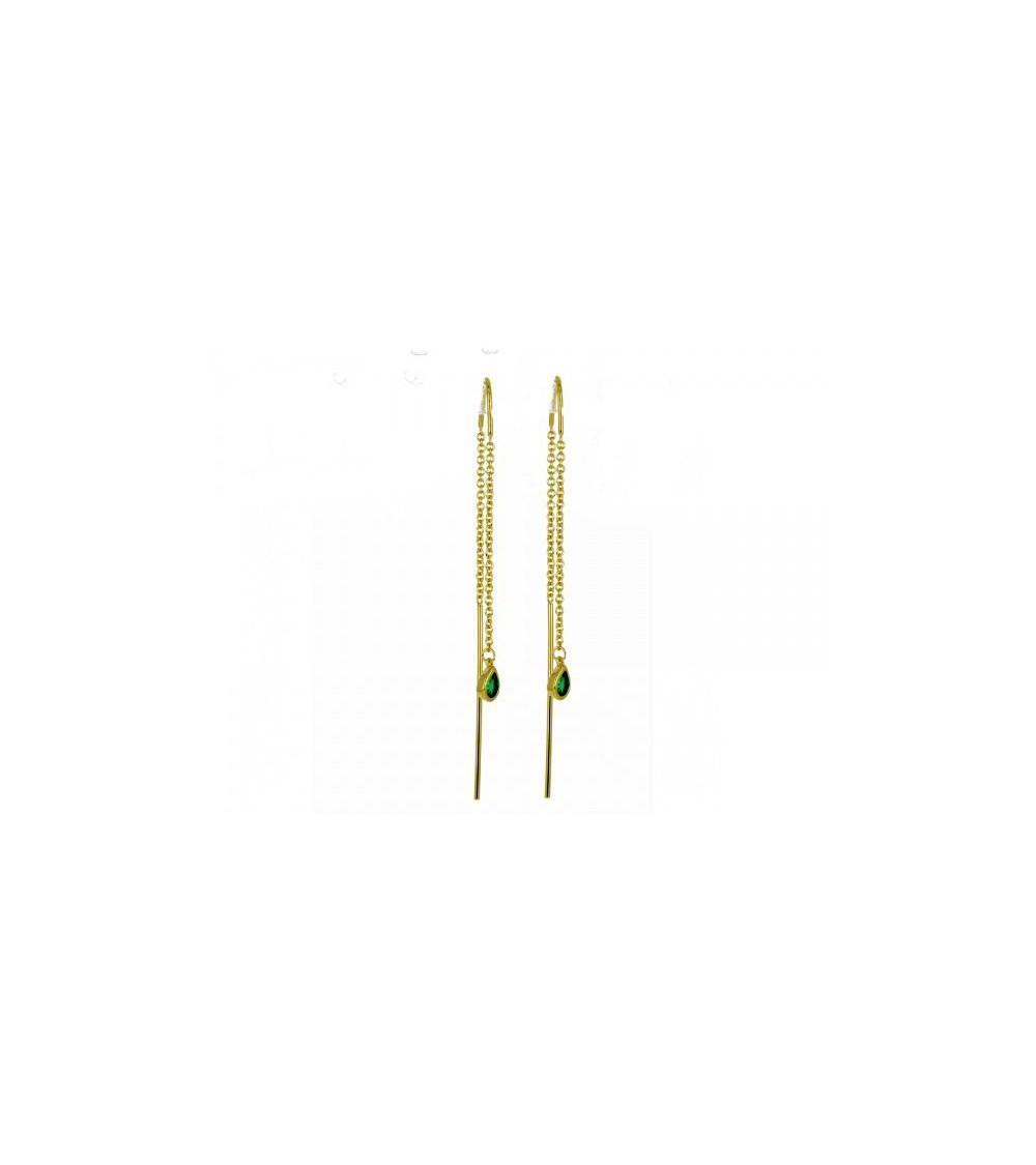 Boucles d'oreilles traversantes en plaqué or avec des petites gouttes serties de pierres vertes