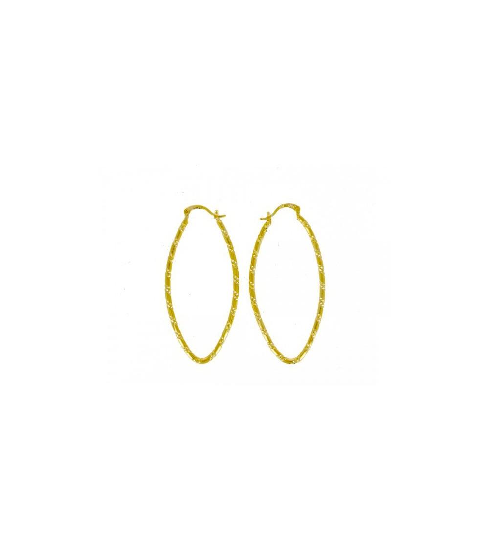Boucles d'oreilles créoles ovales ciselées (hauteur 55 mm)