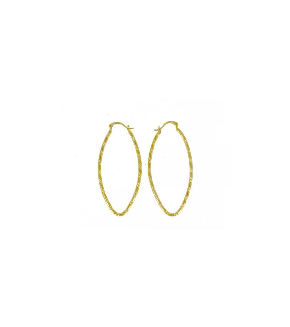 Boucles d'oreilles créoles ovales ciselées en plaqué or (hauteur 60 mm)