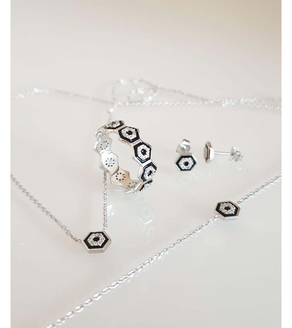 Bracelet en argent 925/1000 rhodié avec motif hexagonal en émail noir et oxydes de zirconium (longueur 18 cm réglable à 16 cm)