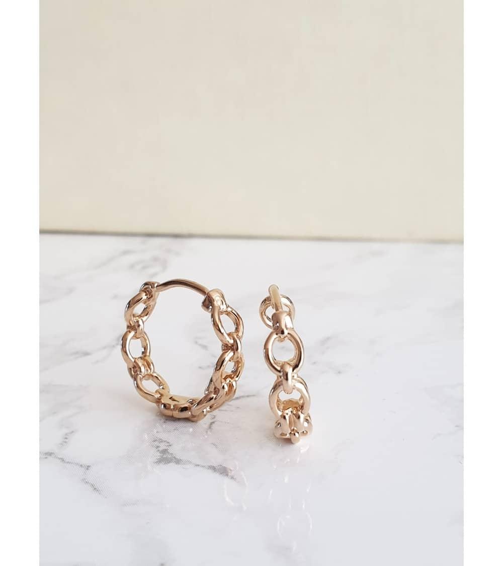 """Boucles d'oreilles créoles motif """"chaînette"""" en plaqué or"""