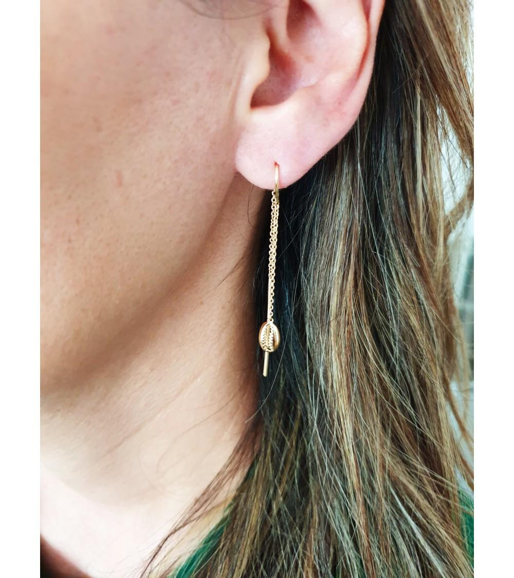 """Boucles d'oreilles traversantes avec motif """"coquillage"""", en plaqué or"""