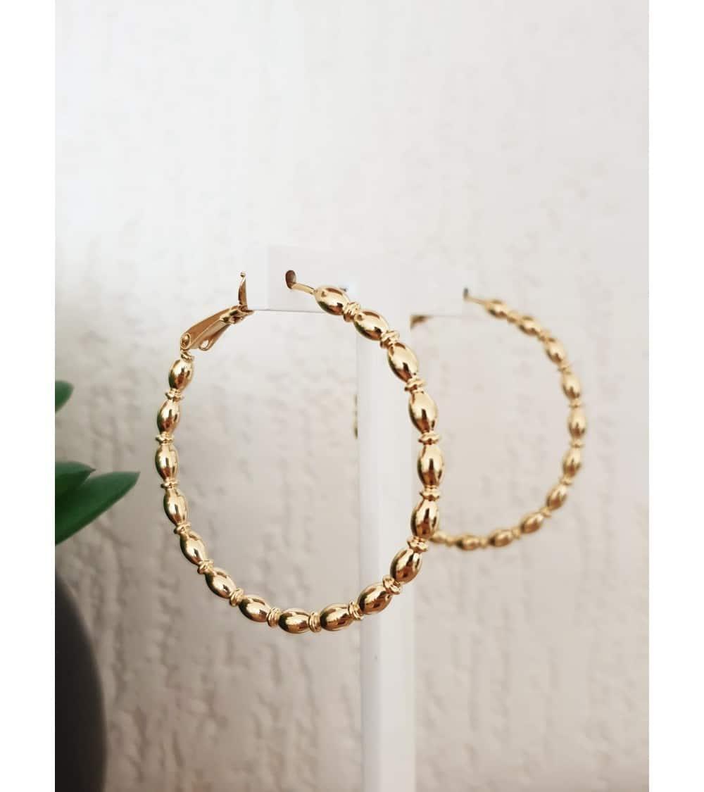 Créoles en plaqué or, en diamètre 40 mm