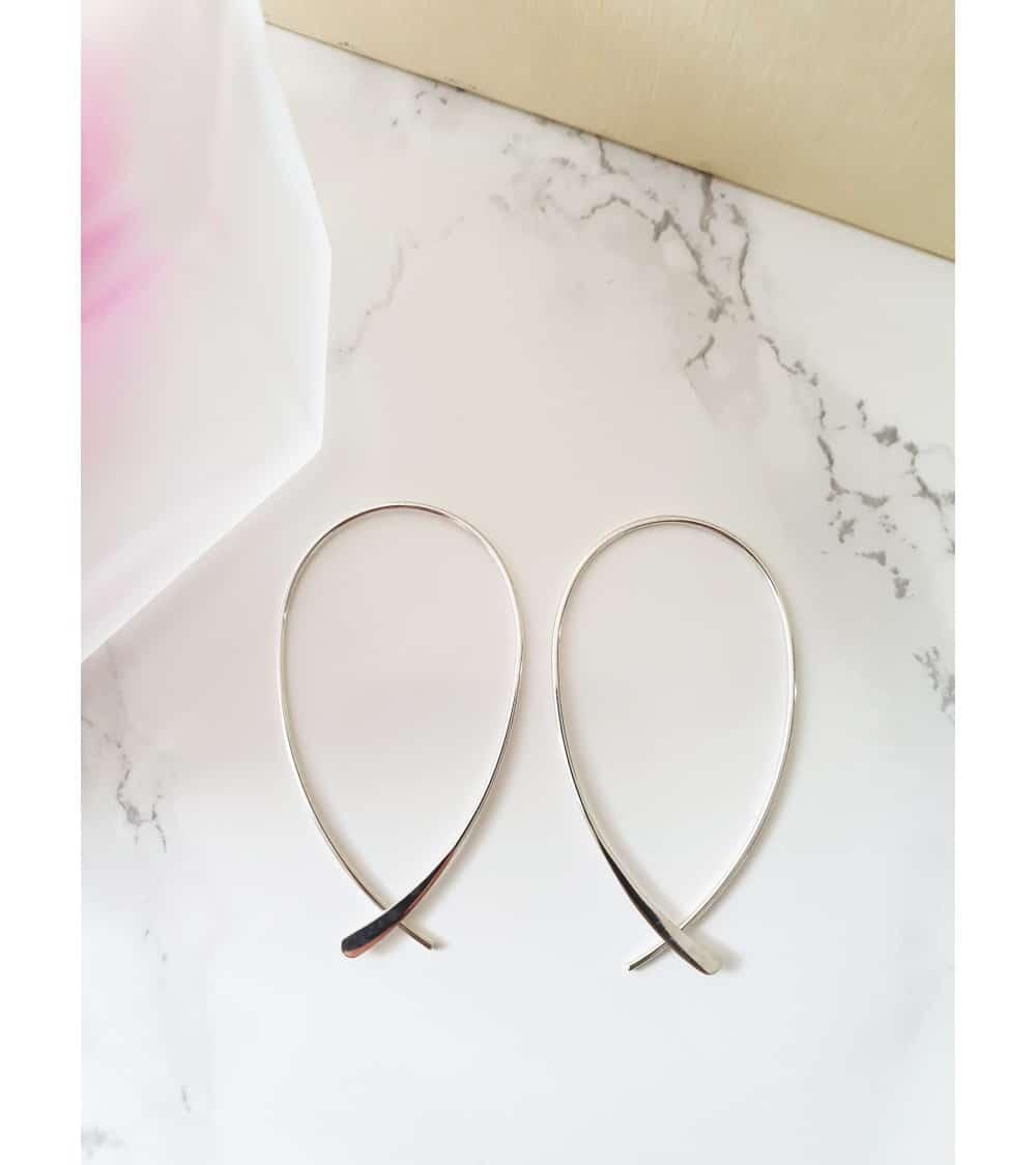 """Boucles d'oreilles """"traversantes"""" ovales en argent 925/1000"""