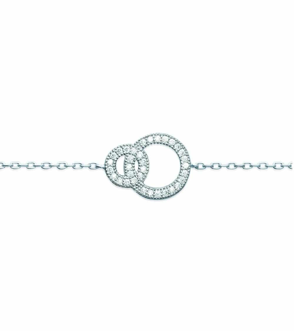 Gourmette double anneau entrelacé en argent 925/1000ème rhodié et oxydes de zirconium blancs