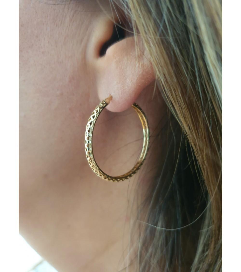 Boucles d'oreilles créoles en plaqué or (diamètre 25 mm)