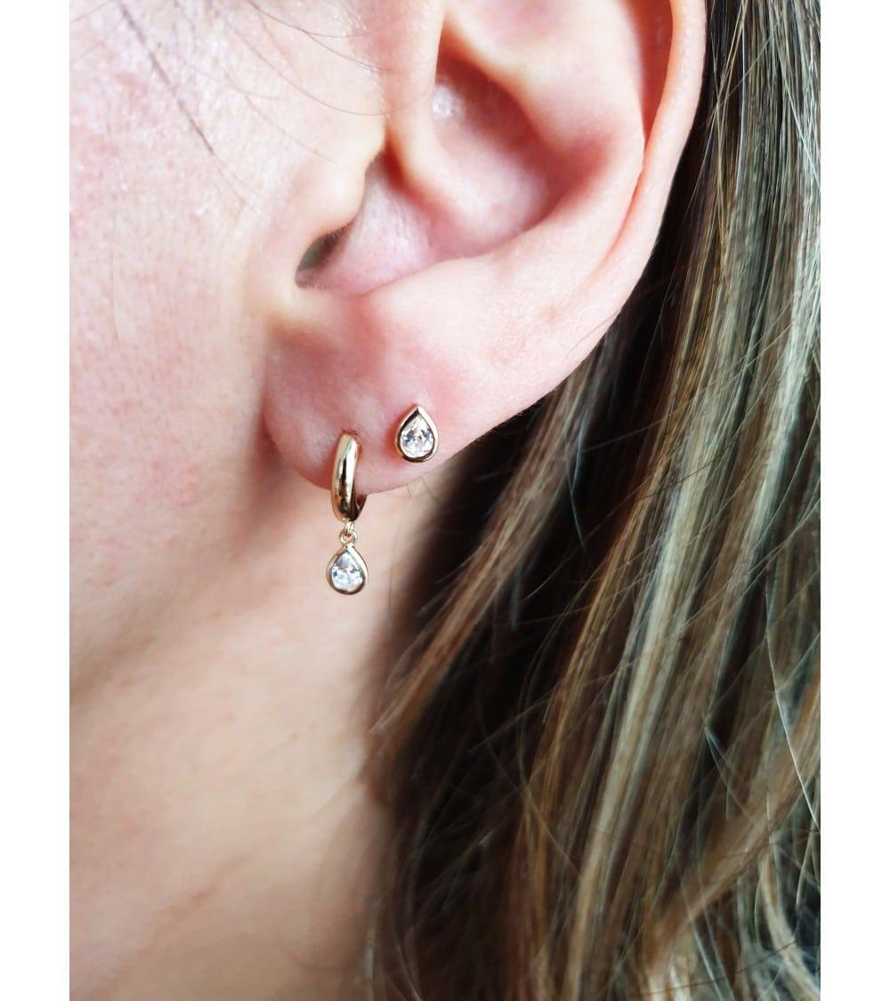 """Boucles d'oreilles """"goutte"""" en plaqué or et oxyde de zirconium, avec poussettes"""