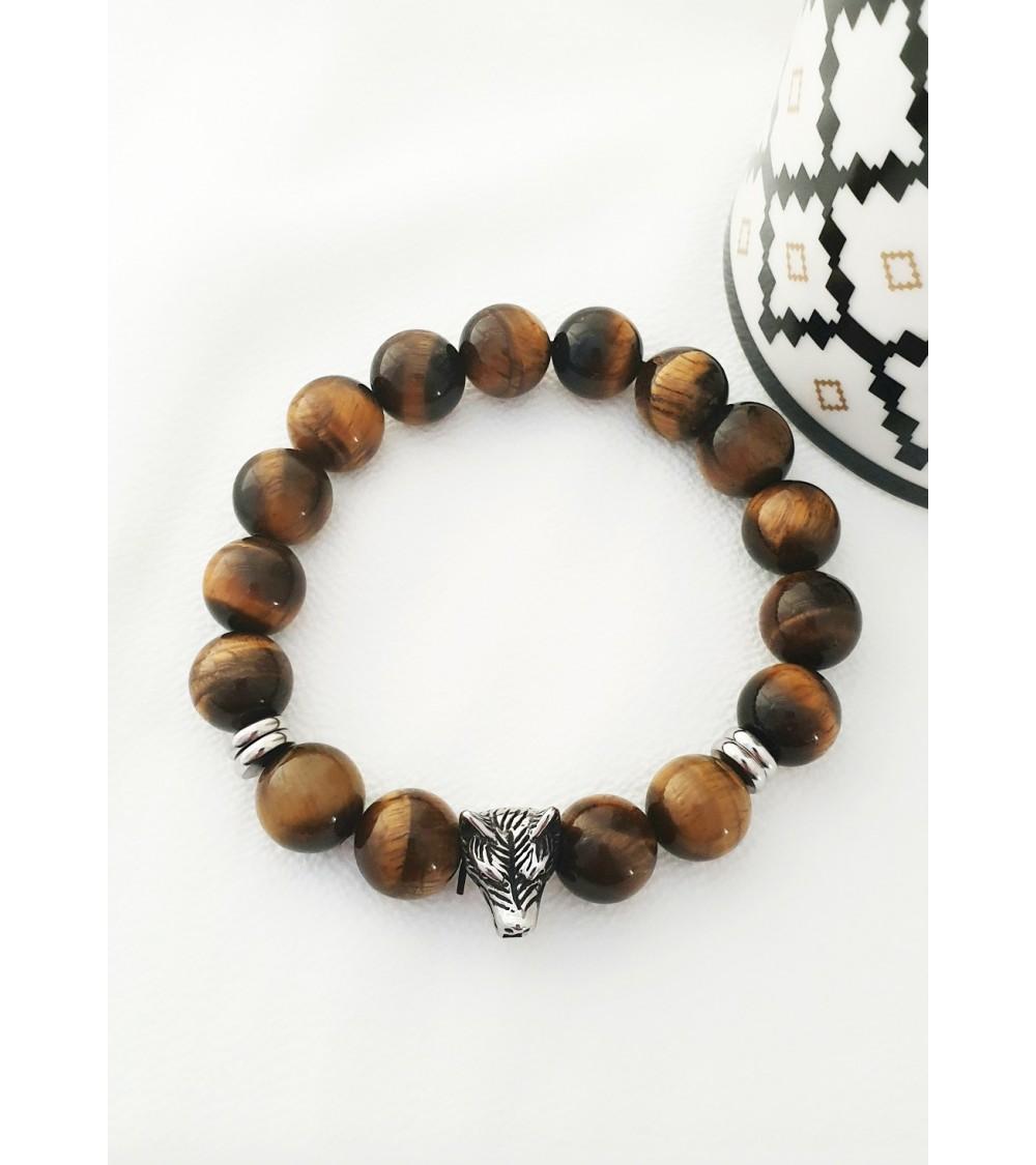 Bracelet en pierres oeil de tigre et acier
