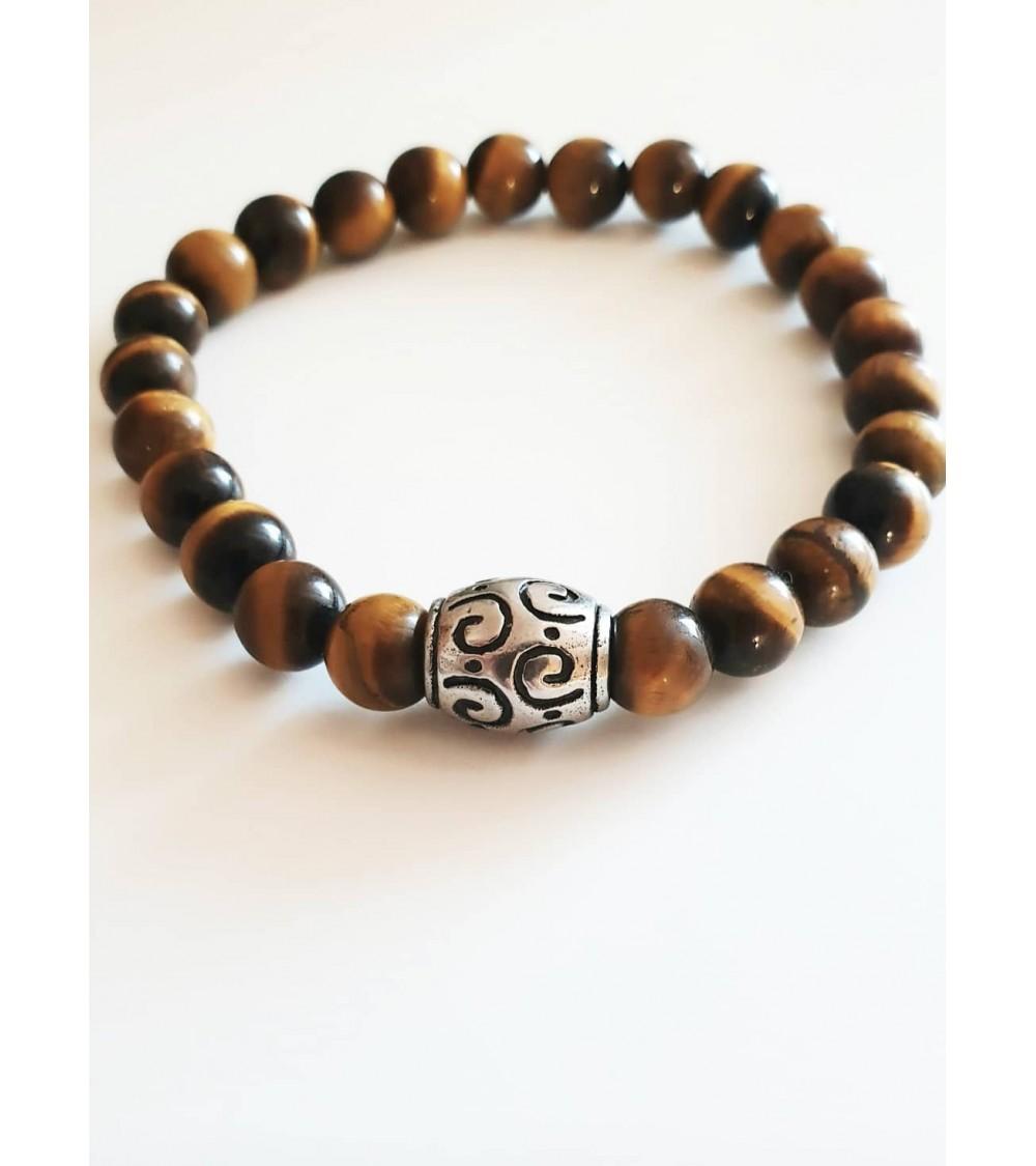 Bracelet en pierres agate noire boules 10 mm avec intercalaires en acier, monté sur élastique