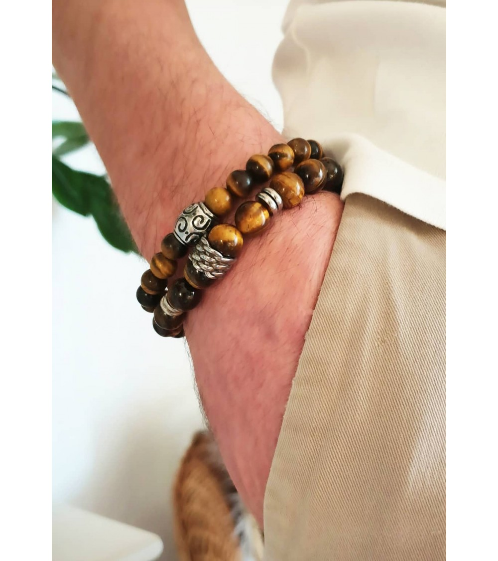 Bracelet en pierres œil de tigre avec intercalaires en acier