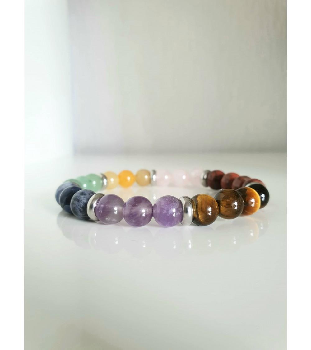 Bracelet en pierres œil de tigre, jaspe rouge, améthyste, aventurine, quartz rose et agate teintée, avec intercalaires en acier