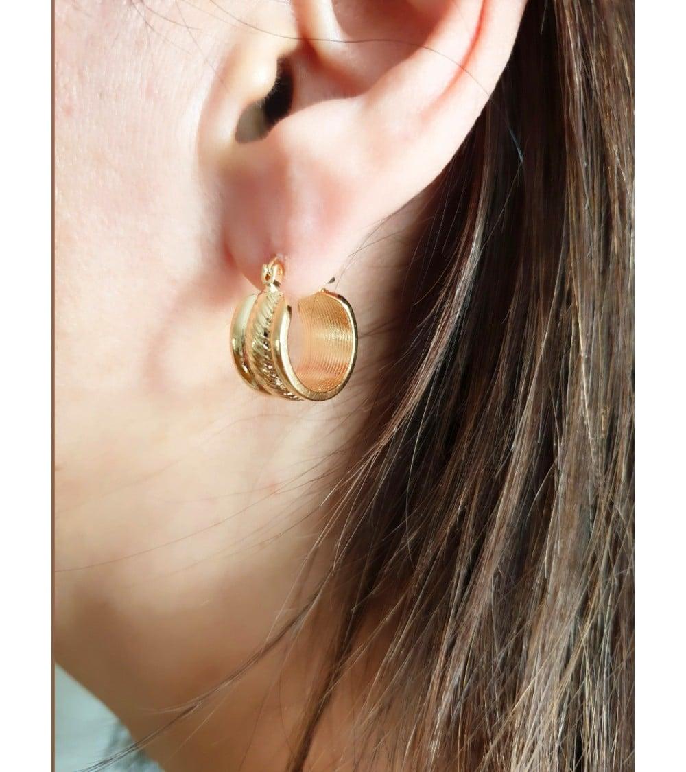 Boucles d'oreilles créoles en plaqué or ( diamètre 16mm )