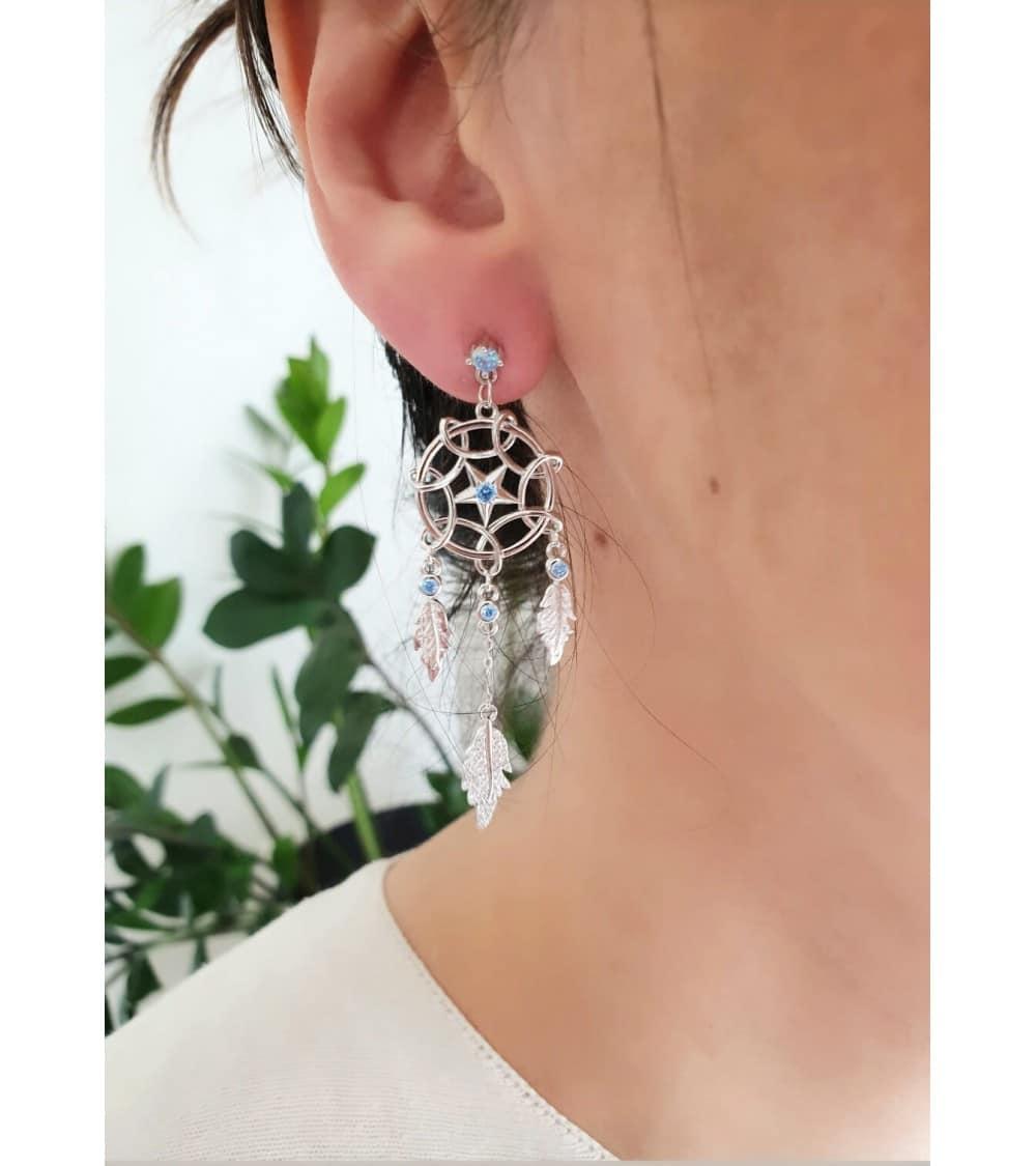 """Boucles d'oreilles """"attrape rêve"""" en argent 925/1000 rhodié et oxyde de zirconium"""