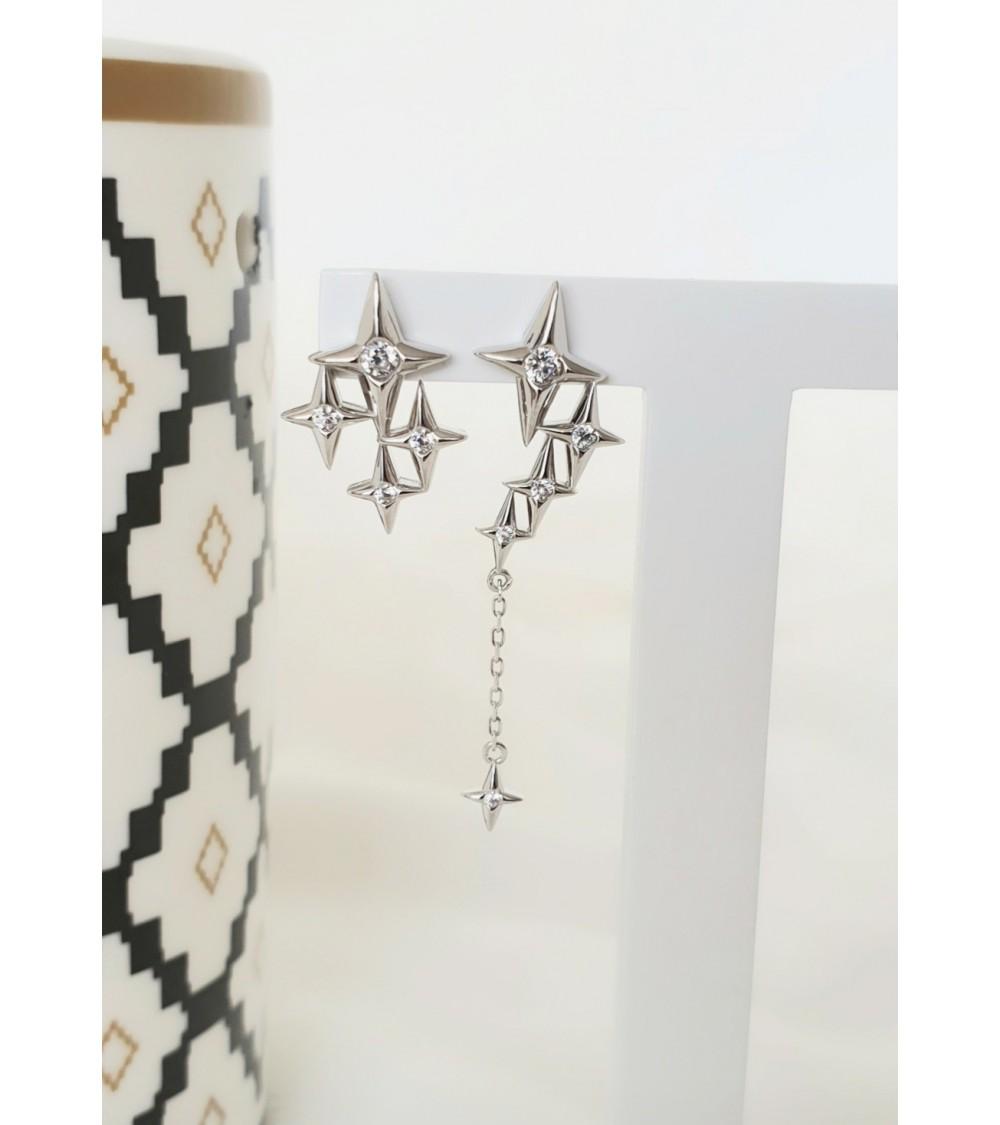 Boucles d'oreilles étoile en argent 925/1000ème rhodié et oxyde de zirconium