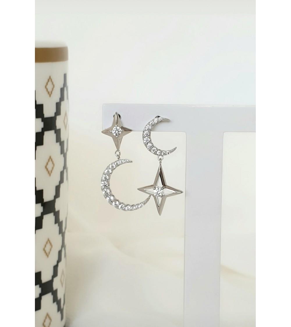 Boucles d'oreilles lune et étoile en argent 925/1000ème rhodié et oxyde de zirconium