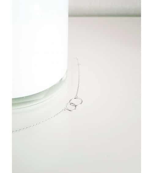 Gourmette double anneau en argent 925/1000 rhodié, en longueur 18 cm
