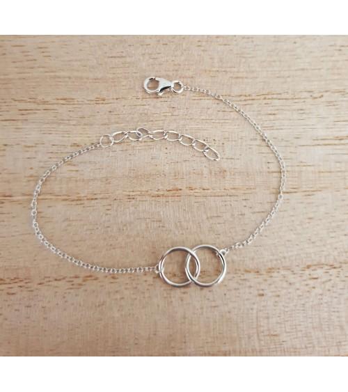 Bracelet double anneau en argent 925/1000 rhodié, en longueur 16,3 cm + 3 cm