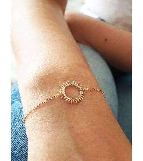 """Bracelet """"soleil"""" en plaqué or, en longueur 18 cm réglable à 16 cm"""