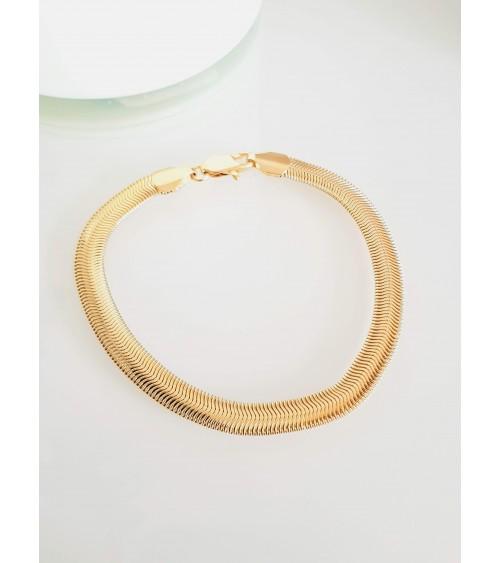 Bracelet maille serpent plate en plaqué or