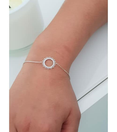 """Bracelet en argent 925/1000 rhodié avec motif """"soleil"""", en longueur 18 cm  réglable à 16 cm"""