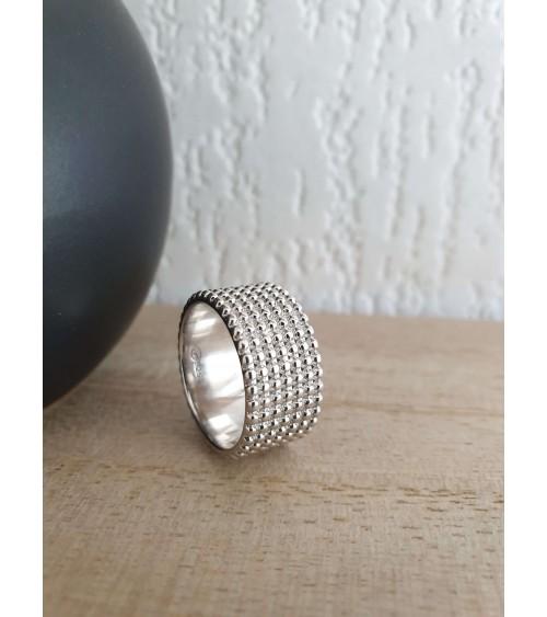 Bague anneau large à picots en argent 925/100 rhodié