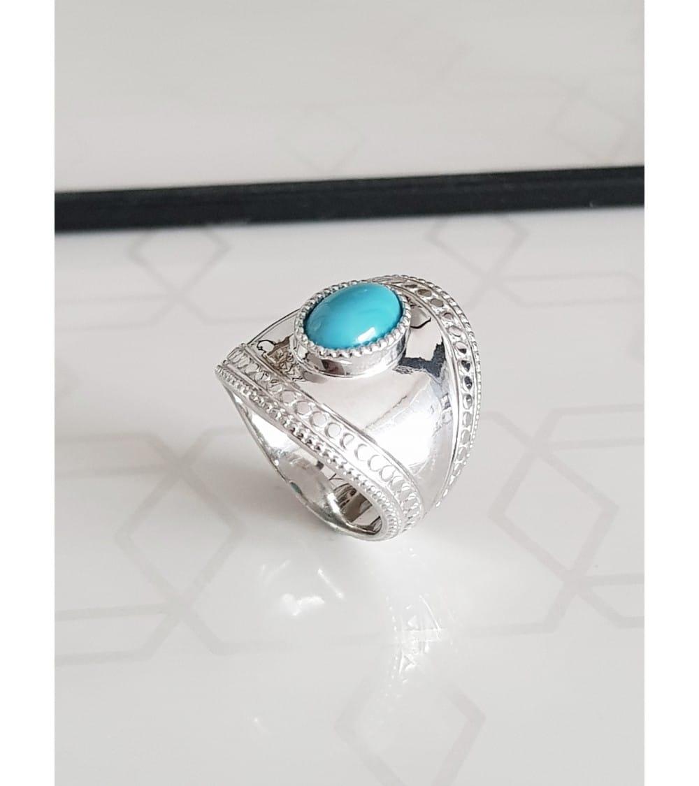 Bague enveloppante en argent 925 rhodié et pierre de synthèse bleue turquoise