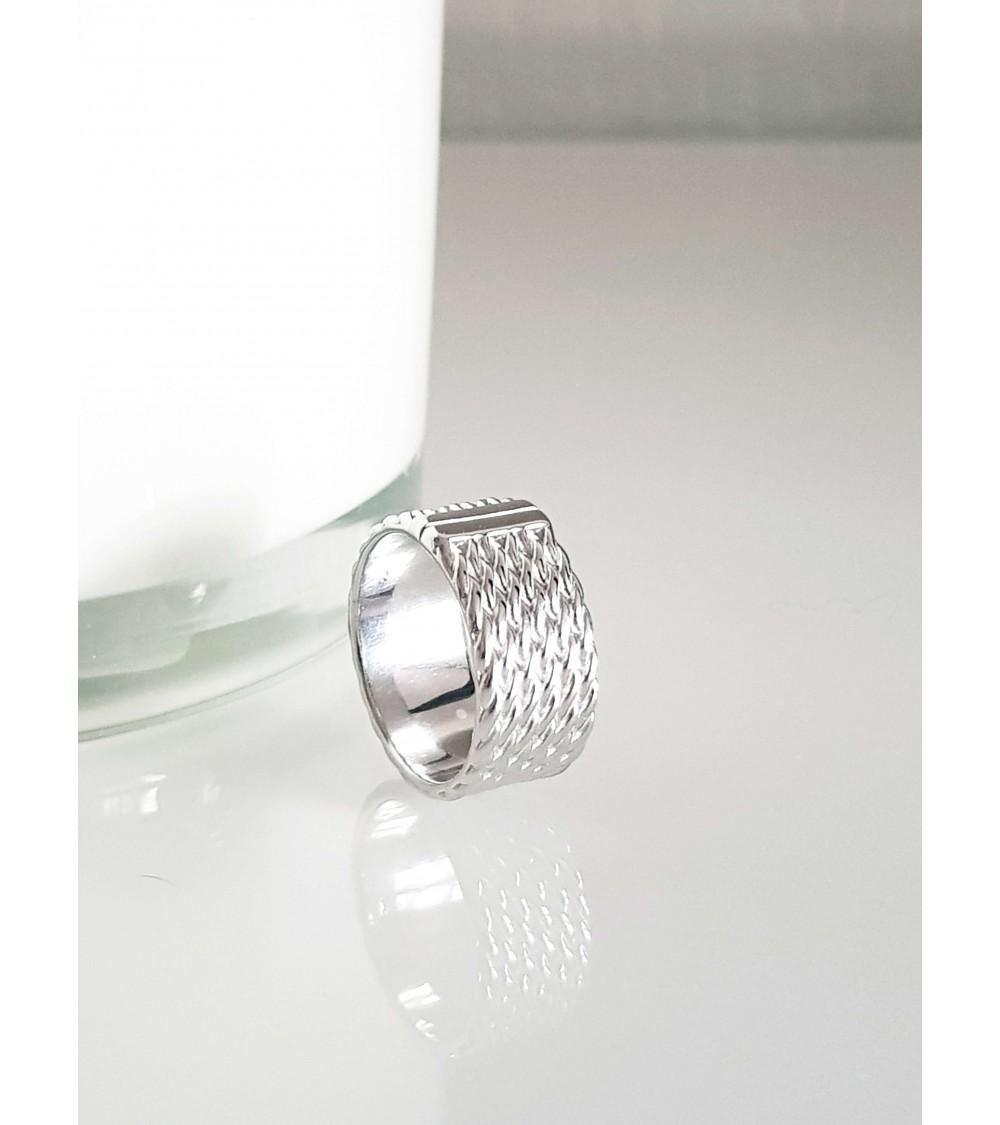 """Bague anneau large en argent 925/1000 rhodié motif """"corde"""""""