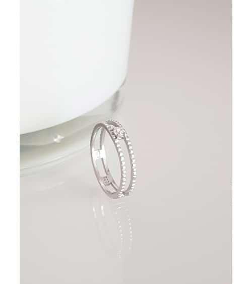 Bague double anneau picot en argent 925/1000 rhodié surmonté d'un oxyde de zirconium