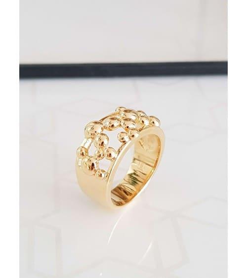 Bague anneau large en plaqué or avec boules en quinconce sur le dessus