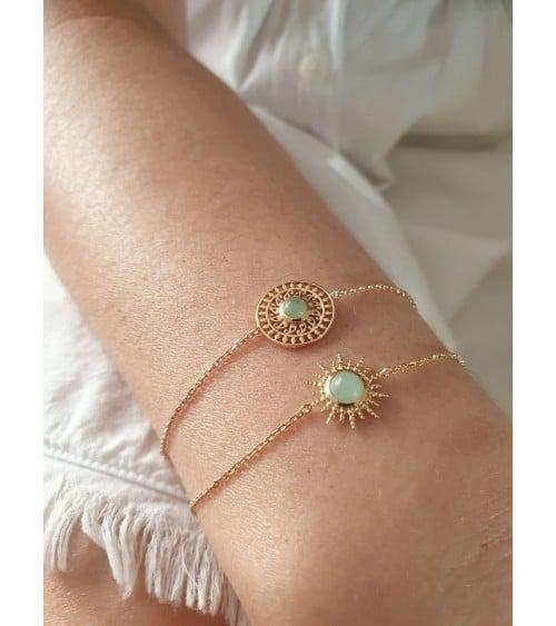 """Bracelet en plaqué or """"soleil"""" avec aventurine, en longueur 18 cm réglable à 16 cm"""