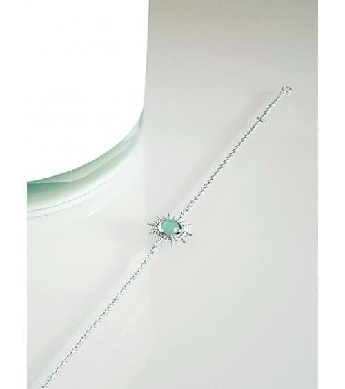 """Bracelet en argent 925/1000 rhodié avec un """"soleil"""" serti d'une pierre aventurine (longueur 18 cm réglable à 16 cm)"""