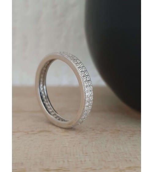 Bague anneau en argent 925/1000 rhodié serti de 2 rangs d'oxydes de zirconium