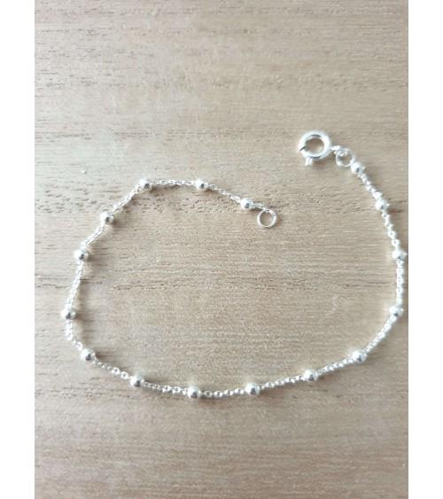Bracelet  boules en argent 925/1000 en longueur 18 cm