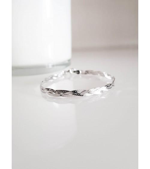 Bracelet tressé en argent 925/1000 rhodié en longueur 18 cm