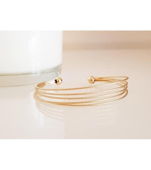 Bracelet ouvert 5 fils brillants en plaqué or