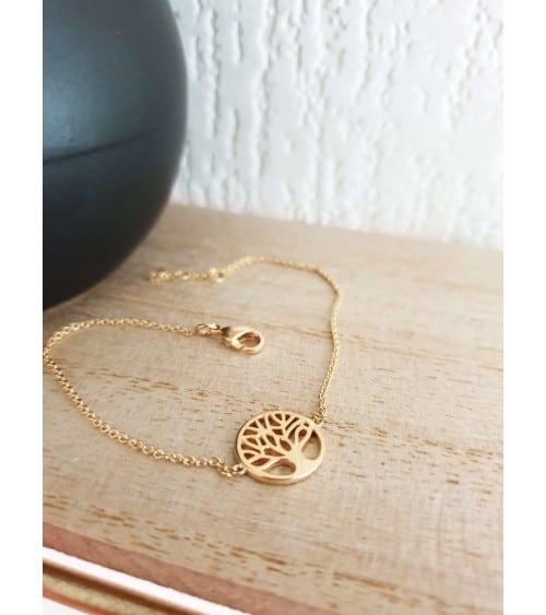 """Bracelet """"arbre de vie"""" en plaqué or, en longueur 17 cm réglable en 18 et 19 cm"""