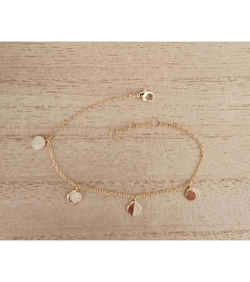 Bracelet en plaqué or avec pastilles serties d'oxydes de zirconium (longueur 19 cm réglable en 18 et 17 cm)