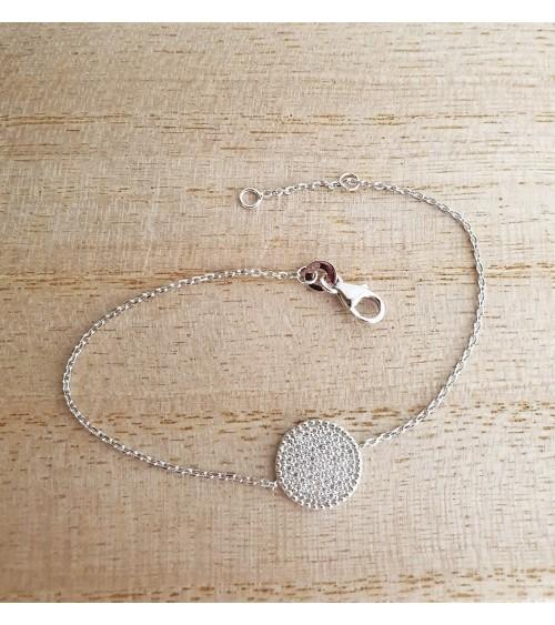 Bracelet en argent 925/1000 rhodié avec pastille sertie d'oxydes de zirconium, longueur 18 cm réglable à 16 cm