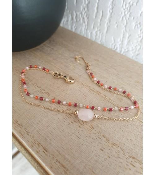 Bracelet double en plaqué or avec une pierre ovale en quartz, et un rang de perles de Miyuki (longueur 18 cm réglable à 16 cm)