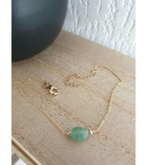 Bracelet en plaqué or avec une pierre ovale aventurine, en longueur 18 cm réglable à 42 et 40 cm