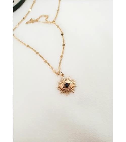 """Pendentif """"soleil"""" en plaqué or avec en son centre une pierre de synthèse noire, avec sa chaine agrémentée de petites pastilles"""