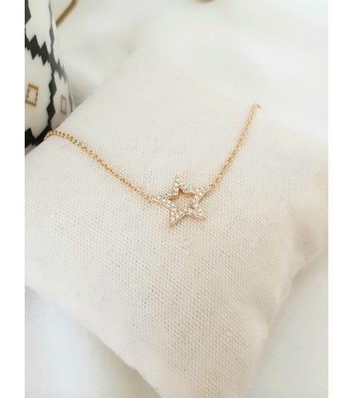 """Collier """"étoile"""" en plaqué or et oxydes de zirconium (longueur 45 cm réglable à 42,5 et 40 cm)"""