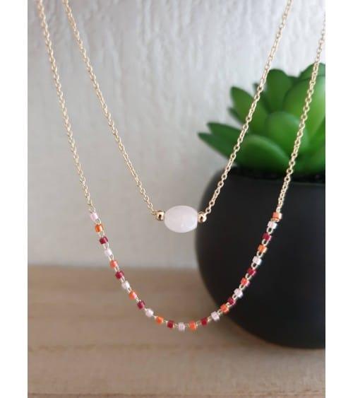 Collier double en plaqué or comportant une pierre quartz et des perles de Miyuki (longueur 45 cm réglable à 40,5 cm)