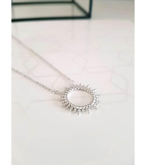 """Collier """"soleil"""" en argent 925/1000 rhodié, en longueur 45 cm réglable à 42 et 40 cm"""