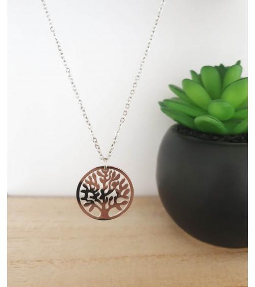 """Collier """"arbre de vie"""" en acier, en longueur 45 cm ajustable à 42 cm et 40 cm"""